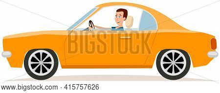 Happy Young Man Is Driving Orange Car. Male Character In Two Door Transport Compartment Vehicle