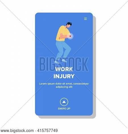 Work Injury Getting Young Man Employee Vector. Elbow Pain Work Injury Suffering Boy Colleague, Compa