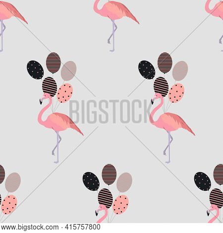 Flamingo Seamless Pattern. Flamingo Vector Flat Background Design For Fabric And Decor. Pink Flaming