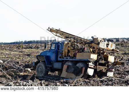 Vehicle-based Drilling Rig, Wagon Drill On The Site Of The Sawn Forest Where Large-scale Enterprise