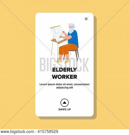 Elderly Worker Man Design Building Plan Vector. Elderly Worker Engineer Working And Drawing Construc