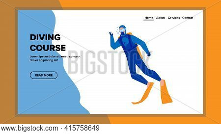 Diving Course School Educate Young Diver Vector. Man Wearing Professional Costume And Accessories Ex