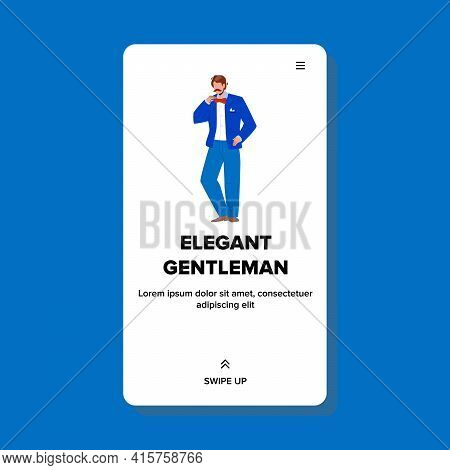 Elegant Gentleman Wearing Tuxedo And Tie Vector. Elegant Gentleman Businessman Wearing Fashionable C