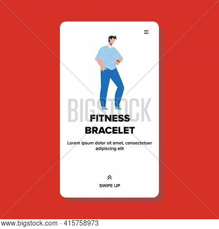 On Fitness Bracelet Watching Young Man Vector. Businessman Look On Fitness Bracelet, Checking Time,