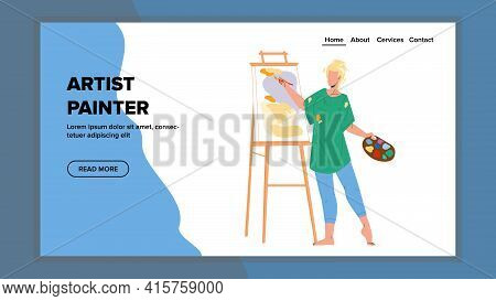 Artist Painter Drawing Picture On Canvas Vector. Young Woman Artist Painter Draw And Create Image In