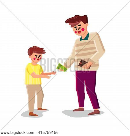 Father Gives Money Little Son For Purchases Vector. Man Giving Money Small Boy From Wallet For Payme