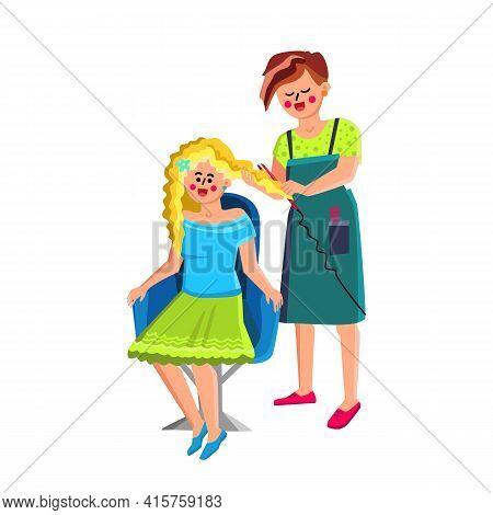 Female Hairstylist Make Hairdo For Customer Vector. Female Hairstylist Making Fashionable Hairdo For