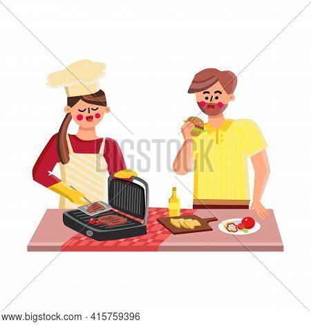 Indoor Grill Fry Meat Girl And Boy Together Vector. Young Man Eating Burger And Woman Frying Steaks