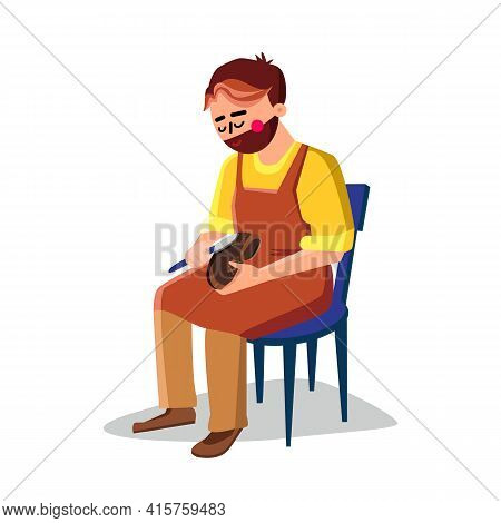 Shoemaker Repairing Shoe With Equipment Vector. Shoemaker Sitting On Chair And Repair Boots With Fix