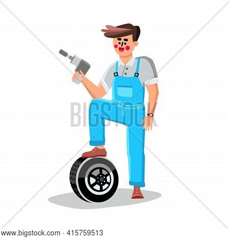 Tire Change Garage Car Service Worker Man Vector. Repair Man Standing With Leg On Tire And Holding D