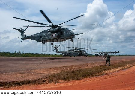 Sandy Bay, Nicaragua. 03-15-2016. Military Helicopter Returning From Reviewing The Situation Of A Co