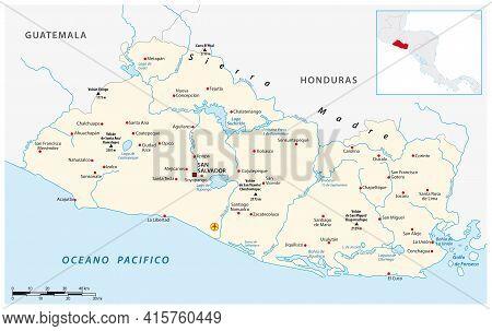 Vector Map Of The Central American Republic Of El Salvador