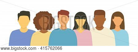 Multicultural People Team Set. Diverse Business Men And Women Avatar Icon. Flat Design People Charac