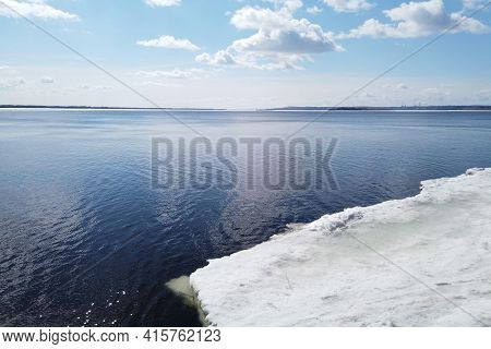 Ice Drift On The River In Spring.