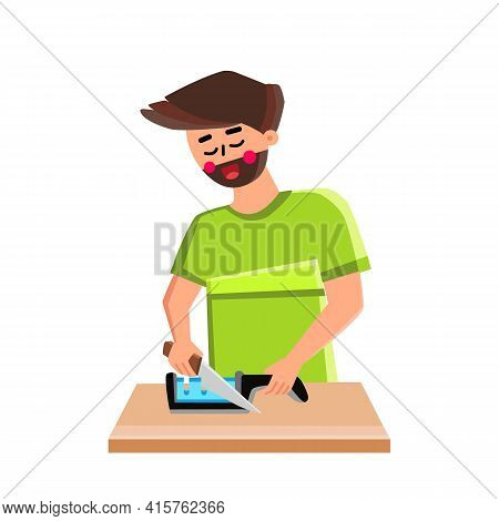 Knife Sharpener Man Use For Prepare Utensil Vector. Young Boy Chef Using Kitchen Tool For Sharpening