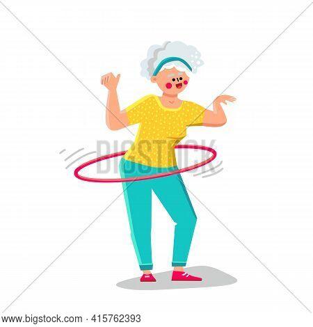 Senior Woman Exercising With Hula Hoop Vector. Elderly Lady Making Exercise With Hula Hoop Sportive