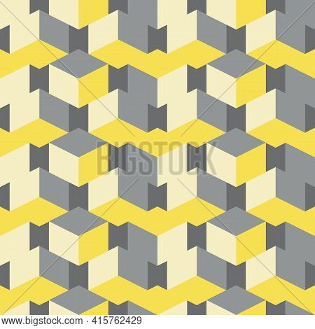 3d Isometric Cube Vector Seamless Pattern Background. Overlapping Stacked Yellow Grey Cubes Geometri