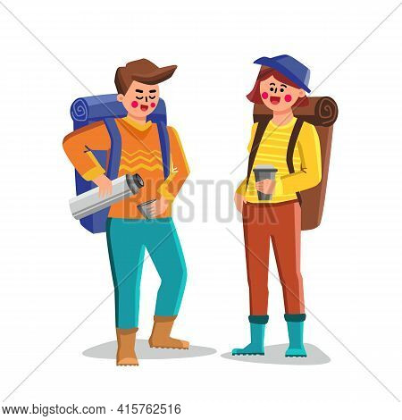 Travel Mug For Carry And Drinking Hot Drink Vector. Man And Woman Tourists Filling Cups With Beverag