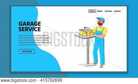 Garage Service Examination Car Battery Vector. Garage Service Worker Man Checking And Repair Car Ele