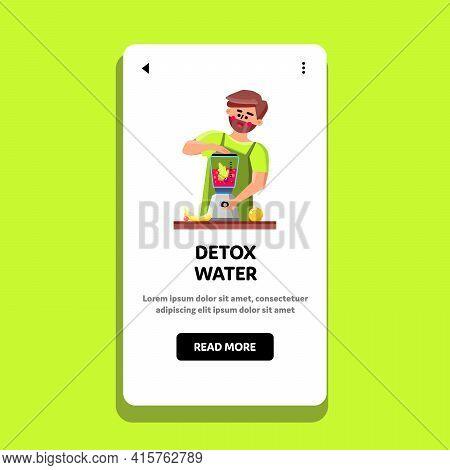 Detox Water Man Preparing In Blender Tool Vector. Cook Boy Prepare Fresh Vitamin Detox Water Drink F