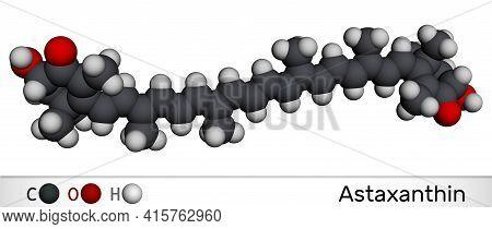 Astaxanthin Is A Keto-carotenoid. It Belongs To Class Of Chemical Terpenes. Molecular Model. 3d Rend