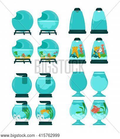 Aquarium Fish Set, Cute Sea Animals In Small Bubbles, Vector Illustration. Goldfish Swims In Blue Wa