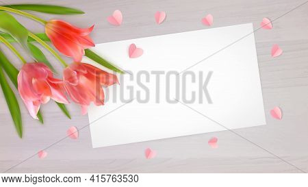 Composition Of Realistic Tulips And Paper Hearts On Wood Background. Bouquet Of Pink Tulips Buds Wit