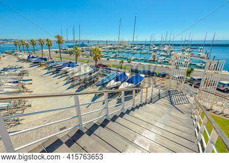 Cascais, Portugal - August 6, 2017: Boats Anchored At Marina De Cascais Alongside Fortress Of Our La
