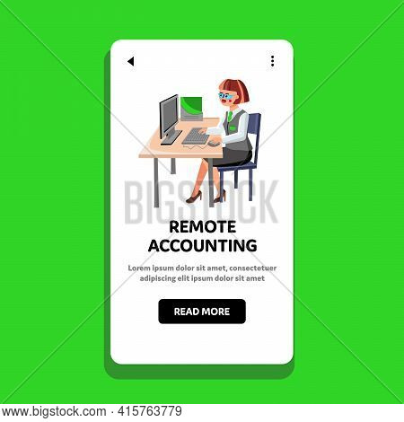 Remote Accounting Doing Office Worker Girl Vector. Remote Accounting Occupation Of Businesswoman, Yo