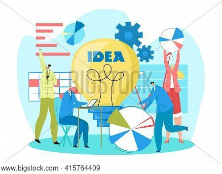Business Creative Teamwork, Vector Illustration. Group People In Office Discuss Project Plan, Analyz