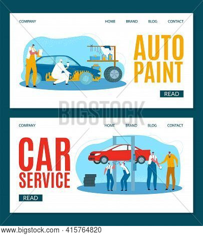 Car Service, Vector Illustration. Workers In Uniforms Diagnose, Repair Engine. Equipment, Tools For