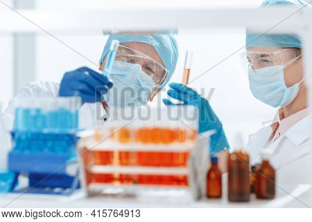 Close Up. Biologists Conduct Blood Tests In The Laboratory .