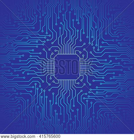 Blue Abstract Technology Circuit Board Background. Vector Illustration Of The Motherboard.