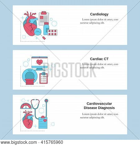 Cardiology, Cardiac Ct, Cardiovascular Disease Diagnosis. Vector Template For Website, Mobile Websit
