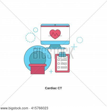 Cardiac Ct Concept. Health Heart Check Up. Vector Illustration.