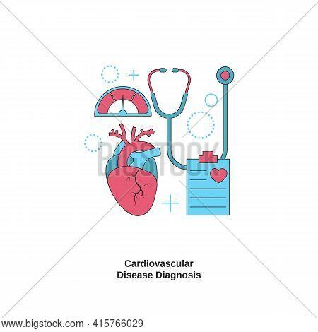 Cardiovascular Disease Diagnosis Concept. Health Heart Check Up. Vector Illustration.