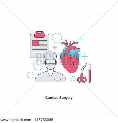 Cardiac Surgery Concept. Cardiology System Medicine Treatment. Vector Illustration.