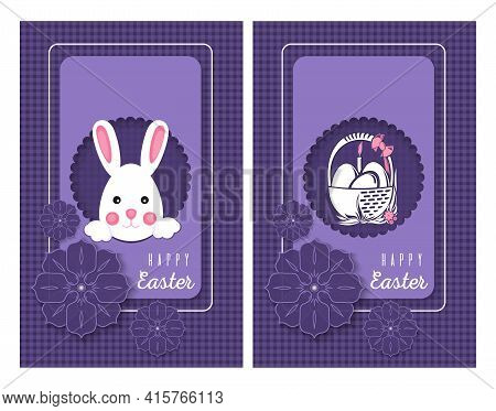Easter Cards Set. Easter Bunny And A Basket With Easter Eggs. Vector Illustration