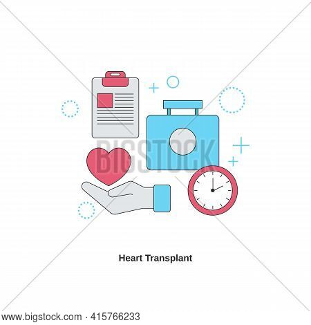 Heart Transplant Concept. Cardiology System Medicine Treatment. Vector Illustration.