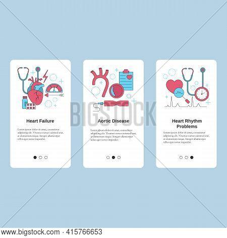 Heart Failure, Aortic Disease, Heart Rhythm Problems. Vector Template For Website, Mobile Website, L