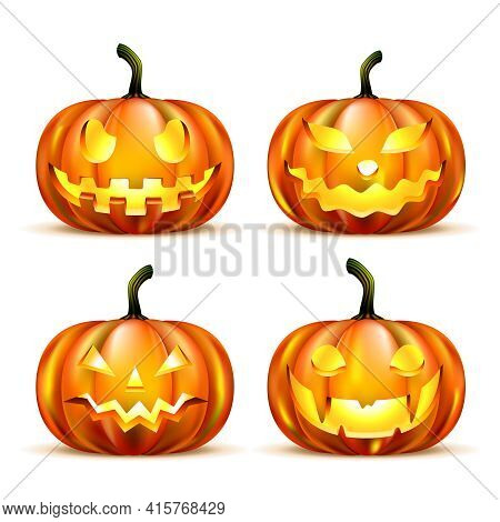 Jack Lantern Pumpkins Isolated On White. Vector Illustration. Eps10 Opacity