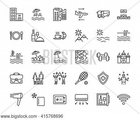 Travel Agency Flat Line Icon Set. Vector Illustration Tourism Service Symbols Included, Flight, Tran