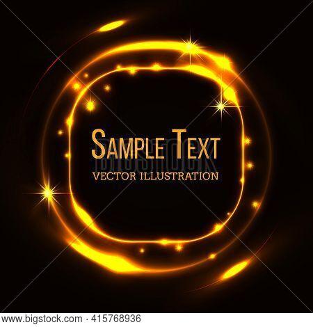 Gold Glittering Stardust Draw Rectangle Frame. Shiny Golden, Template Decorate Blank. Vector Illustr