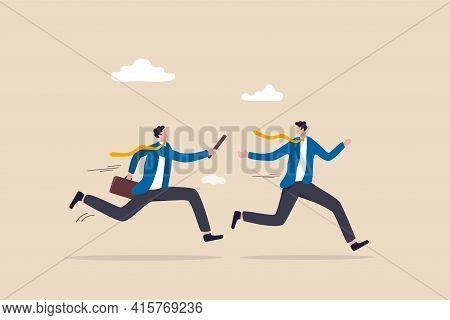 Business Baton Pass, Relay, Job Handover Or Partnership And Teamwork To Help Winning Business Concep