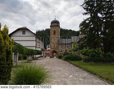 Ozren, Bosnia and Herzegovina - July 12, 2020: Monastery Ozren dedicated to Saint Nicholas, serbian orthodox temple in village Kaludjerica, Petrovo municipality on mountain Ozren, Bosnia and Herzegovina