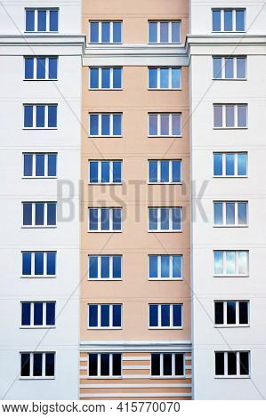 Facade of modern high-rise apartment building.