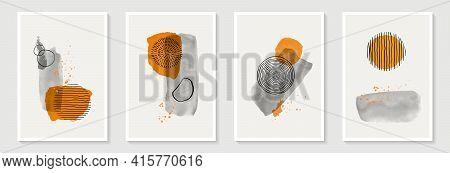 Creative Minimalist Hand Draw Abstract Art Background. Modern Aesthetic Illustrations. Bohemian Styl