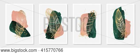 Creative Minimalist Hand Painted Abstract Art Green And Pink Watercolor Stain And Hand Drawn Doodle