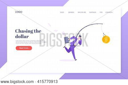 Rat Race And Money Bait Business Concept With Businessman Running After Dangling Dollar And Trying T