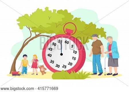 Lifetime Concept, Old Person And Young Children Generation, Vector Illustration. Age Cycle At Huge L